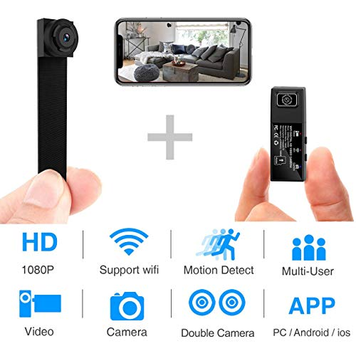 Hidden Spy Camera,1080P WiFi Mini Camera Portable Wireless Security Cameras Video Recorder IP Cameras Nanny Cam with DIY Interchangeable Lens/Motion Detection for Indoor Outdoor Monitoring(Upgraded) (Best Interchangeable Lens Camera)