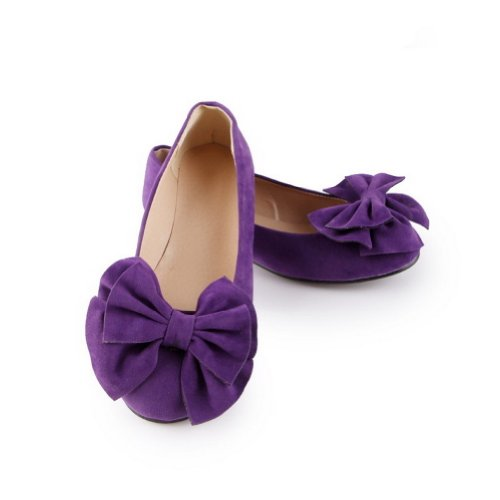 WeiPoot Girls Closed Round Toe PU Frosted with Solid Flats with Frosted Bowknot, Purple, 5.5 B(M) US B00K8JIVC2 Shoes f4d2fd