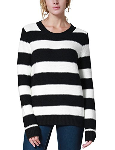 - Rocorose Women's Unisex Stripe Crewneck Loose Sweater Jumpers Black&White XL