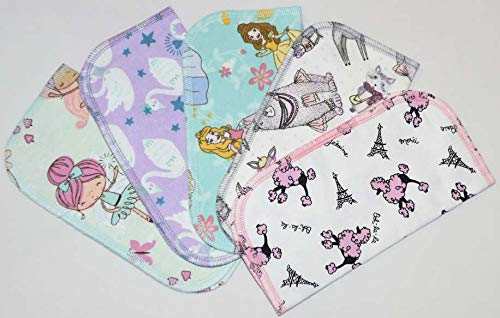 2 Ply All Things GIrl Flannel Washable Kids Lunchbox Napkins 8x8 inches 5 Pack - Little Wipes (R) Flannel by Gina's Soft Cloth Shop