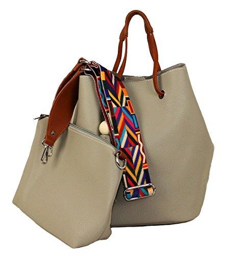 Damen Handtasche ROSA Lederlook Bag in Bag Damentasche Schultergurt Taschen Anhänger Bommel Beuteltasche (Schwarz) Hellgrau ZrB1fdJM