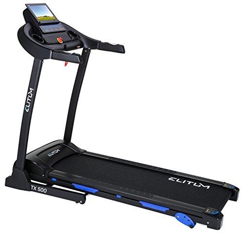 Elitum TX500 elektrisches Laufband Heimtrainer klappbar, Blautooth 4.0, Smartphone Steuerung, MP3, AUX, Geschwindigkeit  0,1-14km h, 12 Trainingsprogramme, bis 150 kg