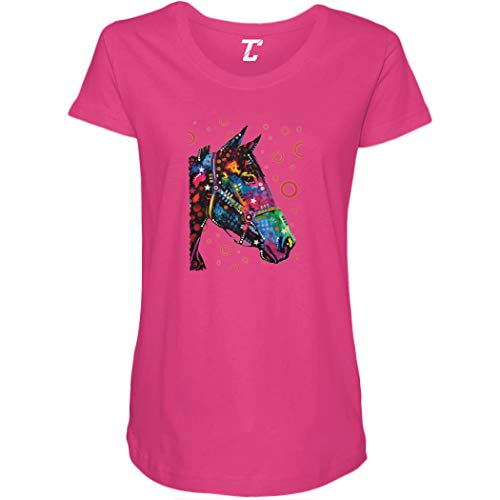Neon Horse Profile - Artistic Colorful Rider Side Ruched Maternity T-Shirt (Pink, XX-Large)