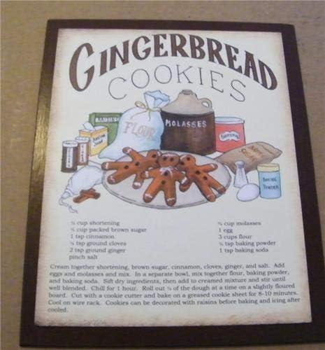 Gingerbread Cookies Hanging Wall Sign Plaque Primitive Rustic Farmhouse Decor
