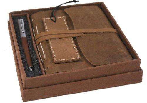 Indra Handgemachtes Notizbuch aus rustikalem Leder, mit Geschenkbox inklusive Lesezeichen und Stift (17cm x 17cm)