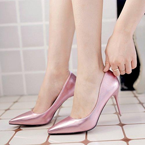 Métallique Fashion Soiree rose Talon Élégant haut Respirent Chaussures PU Inconnu Femmes Aiguilles on Slip Mesdames Pointu Escarpin OL Hauts Couleur Miroir Vernis 0xwBqgYf4