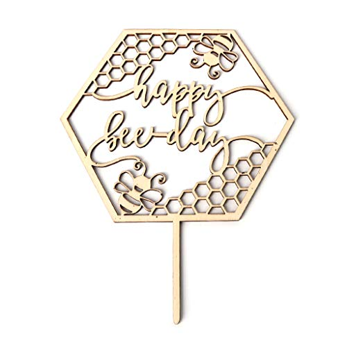 - Oukery Rustic Wooden Happy Bee Day Cake Topper Cupcake Picks Baby Shower Birthday Party Favors Supplies Decoration