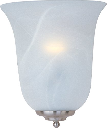 Maxim 20581MRSN Essentials 1-Light Wall Sconce, Satin Nickel Finish, Marble Glass, MB Incandescent Incandescent Bulb , 100W Max., Dry Safety Rating, Standard Dimmable, Glass Shade Material, 10350 Rated Lumens Review