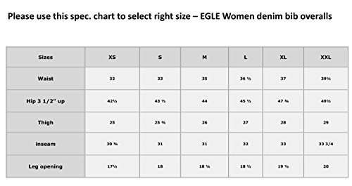 Women's EGLE jeans Light Blue denim bib overalls Sizee X-Large