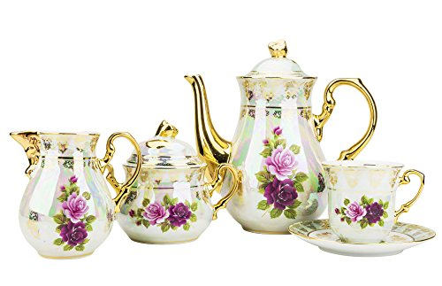 Vintage Floral Porcelain - Majestic Porcelain CSL17, Porcelain 24K Gold-Plated Vintage Floral Dining Tea Set for 6, 15-Piece Set: 1 Tea Pot, 1 Creamer, 1 Sugar Bowl, 6 Cups and 6 Saucers