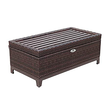 Superb Sunvivi Outdoor Wicker Deck Storage Box For Cushions Pillows Pool Accessories Ottoman Bench Aluminum Frame With Seat Cushion Perfect Additional To Interior Design Ideas Inesswwsoteloinfo