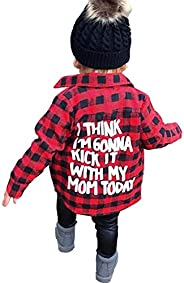 Toddler Long Sleeve Shirt Baby Boy Girl Plaid Top for Toddler Spring Winter Coat for Kid (Red Plaid, 6-7 T)