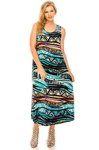 - Jostar Women's Stretchy Long Tank Dress Print Large Turquoise Animal