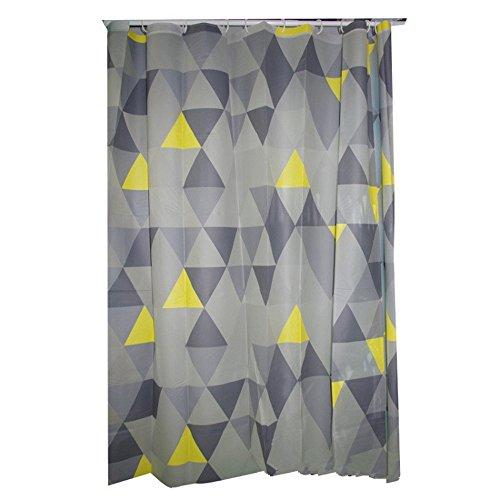JynXos Geometric Decor Collection, Triangles Argyle Polygon Patterns Vibrant Colors Zig Zag Fashion Ornament Design Shower Curtain 72x80 inch, Yellow/Grey ()