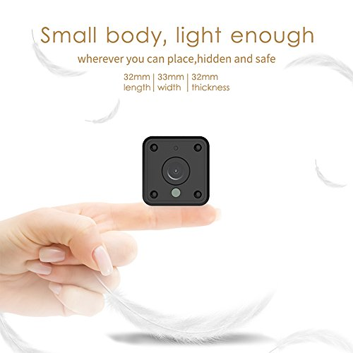 Mini Wifi Spy Camera, Wireless Hidden Camera with Night Vision & Motion Sensor for Home Security Cameras, HD 1080P Battery Operated Nanny Cam for Indoor Video Surveillance, Support iPhone/Android
