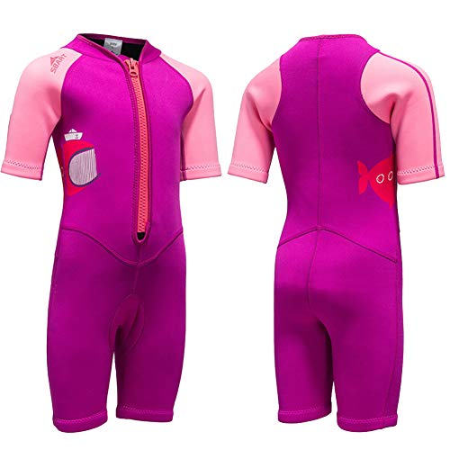 (Kids Wetsuit Neoprene Shorty Swimsuit 2MM One Piece Swimming Suit for Girls Boys Youth Teen, Full Body Long Sleeve Surfing Suit Thermal UV for Snorkeling Scuba Diving Fishing (Shorty Suit Pink, L) )