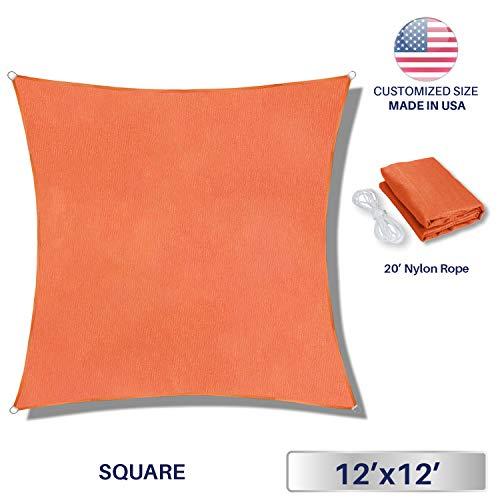 Windscreen4less 12ftx12ft Sun Shade Sail UV Block Fabric Canopy in Orange Square for P Patio Garden Customized 3 Year Warranty, 12' x 12', (Green Hurricane Shade)