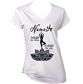 teesquare1st Yoga Namaste Camiseta para Mujer de Algodon ...