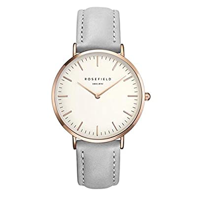 COCOTINA Women's Men's Classic Casual leather Strap Quartz Wrist Watch Silver+Gray