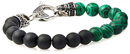 Blackjack Genuine Malachite & Onyx Stainless Steel Bead Bracelet