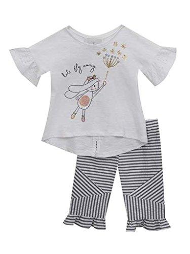 - Rare Editions Bunny With Dandelion Appliqued Top wtih Capri Pants Set- Size 3T