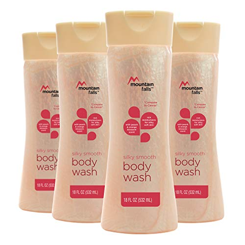 Mountain Falls Body Wash, Silky Smooth, with Peach and Orange Blossom Scent, 18 Fluid Ounce (Pack of 4)