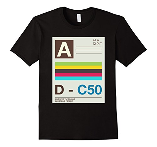 Mens Cassette Tape Costume Shirt 80s 90s Party Outfit T-Shirt 2XL (Mens 80s Dress)