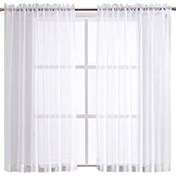 Sheeroom White Sheer Curtains with Pocket for Bedroom, 55 x 63 inch, 2 Panels
