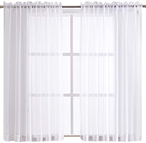 SHEEROOM Voile Solid Sheer Curtains White for Bedroom, 55 x 63 inch, 2 - Voile Solid