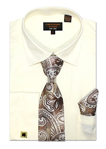 (Christopher Tanner Men's Regular Fit Dress Shirts with Tie & Hankerchief Cufflinks Combo Unique Pattern 18.5
