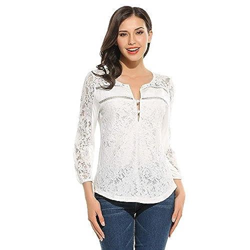 Meaneor Camisa Encaje de Mujeres Casual con Cuello V Manga 3/4 Tops Floral Blusa Blanca Talla XL