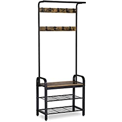 SONGMICS Vintage Coat Rack Shoe Bench, Hall Tree Entryway Storage Shelf, Wood Look Accent Furniture with Metal frame, 3 in 1 Design, Easy Assembly UHSR40B