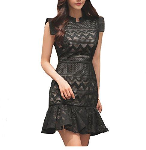 celebritystyle Black Zigzag Lace Pleated Hem Lace Dress See Measurements (S, Black)