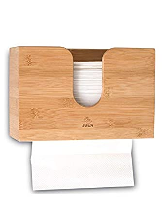 Paper Towel Dispenser Bamboo For Bathroom Decor   Wall Mount Or Countertop Paper Towel Holder With Multifold Paper Towels, C Fold, Trifold Hand Napkin by E Bun