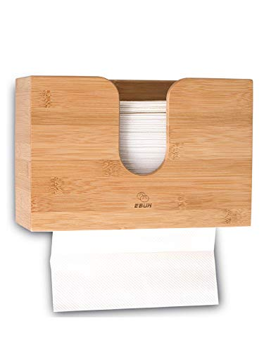(Paper Towel Dispenser Bamboo, Paper Towel Holder Wall Mount & Countertop Toilet Paper Dispenser for Kitchen and Restroom Decor - Holds Multifold Paper Towel, C Fold, Trifold Hand Tissue Napkin)