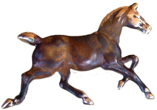 Elaine Coyne Earth Patina Solid Brass Classic Running Horse Pin ()