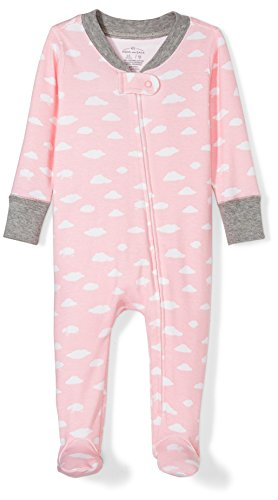 Moon and Back Girls' Organic Footed Zip-Front Sleep and Play, Pink Cloud, 0-3 Months - Back Onesie