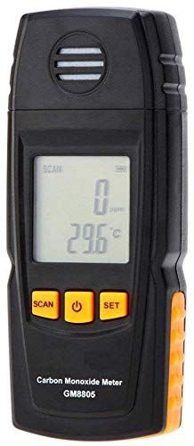 Basic Carbon Monoxide Handheld CO Meter by FORENSICS | Adjustable Alarms | Large Display | Measure up to 1000ppm | Home & Light Industrial Use | (Black)