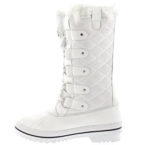 Polare Damen Nylon Hoch Winter Schneestiefel Weißes Wildleder