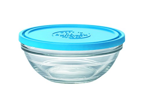 (Duralex Made In France Lys Round Bowl with Lid, 1 quart, Clear/Blue)