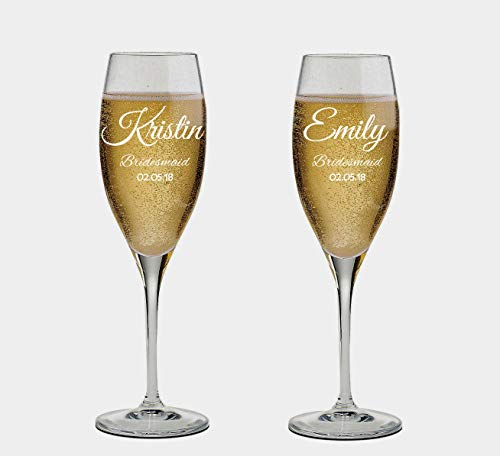 (Custom Etched Bridesmaid Champagne Flutes Set of 2 - Personalized Monogrammed Bridesmaid Glasses - Bridesmaid Gift - Wedding Favor)