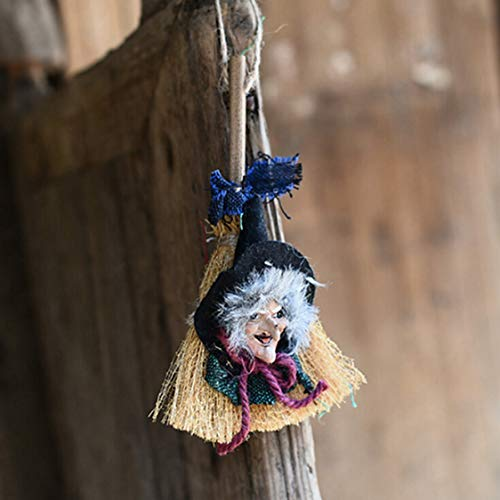 DOSOMI DIY Halloween Hanging Witch Broomstick Decoration Wall Door Porch Tree Decorative Props Ornaments Festival Party -