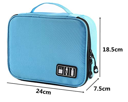House of Quirk Electronics Accessories Organizer Bag, Universal Carry Travel Gadget Bag for Cables, Plug and More, Perfect Size Fits for Pad Phone Charger Hard Disk (Sky Blue)