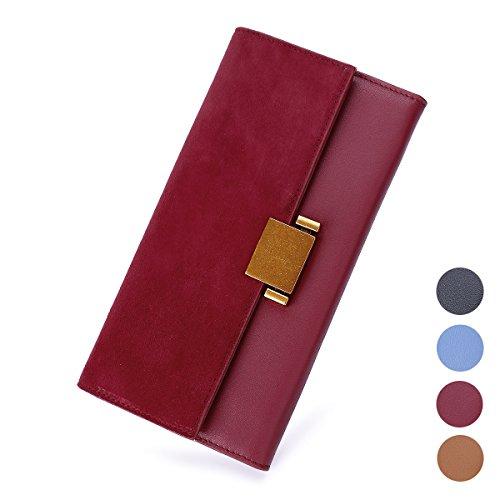 (Women Luxury Genuine Leather Wallet Long Multi Card Organizer Clutch Bag (Purple))