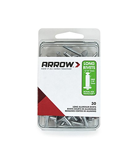 - Arrow Fastener RLFA3/16IP Long Large Flange Aluminum 3/16-Inch Rivets, 30-Pack