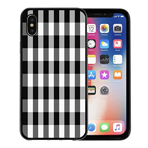 Semtomn Phone Case for Apple iPhone Xs case,Buffalo Tartan Plaid Patterns Scottish Chequered Black and White Check Fall for iPhone X Case,Rubber Border Protective Case,Black ()