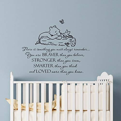 (Wall Decal Decor Winnie The Pooh Quote Always Remember You are Braver Than You Believe Classic Pooh Nursery Decor Baby Kids Room Vinyl Wall Art Made in USA)