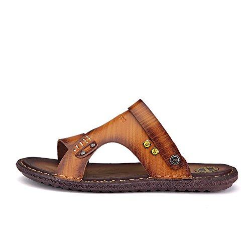 Pattini di spiaggia antisdrucciolevoli dei pattini di pelle molli liberi di svago di modo dei pattini dei sandali degli uomini di estate, Brown, UK = 8, EU = 42