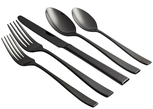 Jaf Gifts 20 Piece Black Flatware Set With Mirror Finish - Stainless Steel Cutlery Service For 4 With Soup Spoon, Teaspoon, Dinner Knife, Dinner And Salad Fork (Godinger Mirror)
