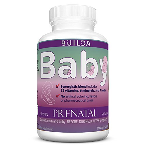 Premium Prenatal Vitamins by Builda Baby,with Ultra Prenatal Herbs,Essential Vitamins,Folic Acid,Minerals,Herbs,Best for Mother and Child,GMP Certified,120 Veggie Capsules,60 DaySupply,Made in USA